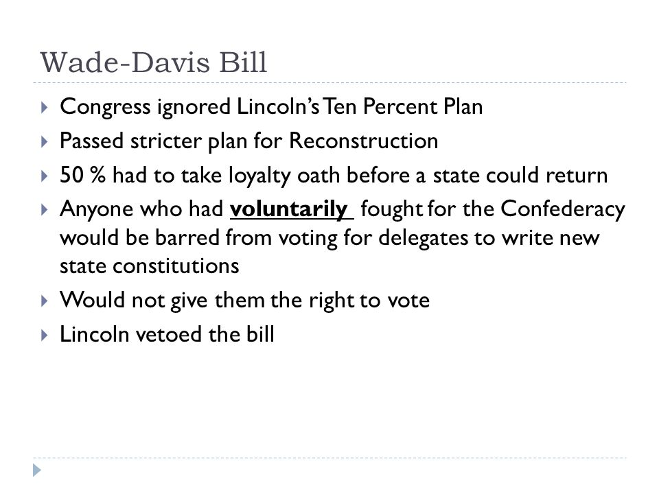 Wade-Davis Bill Congress ignored Lincoln's Ten Percent Plan