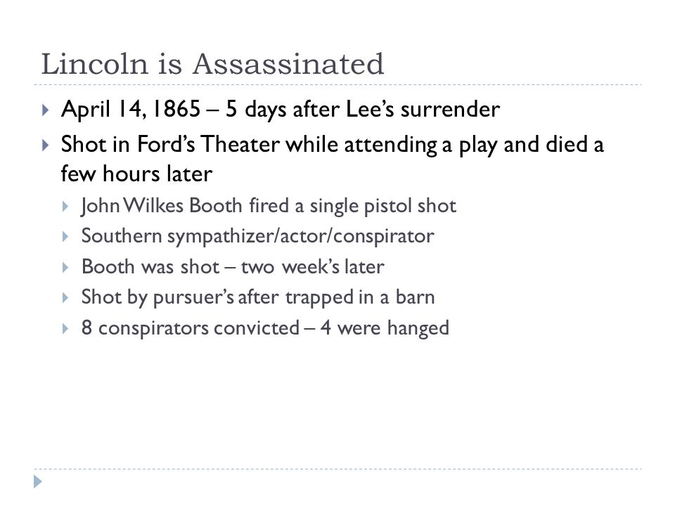 Lincoln is Assassinated