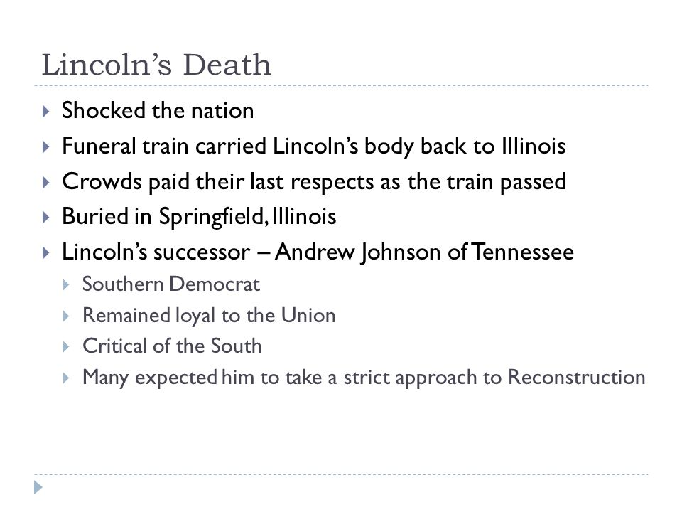 Lincoln's Death Shocked the nation