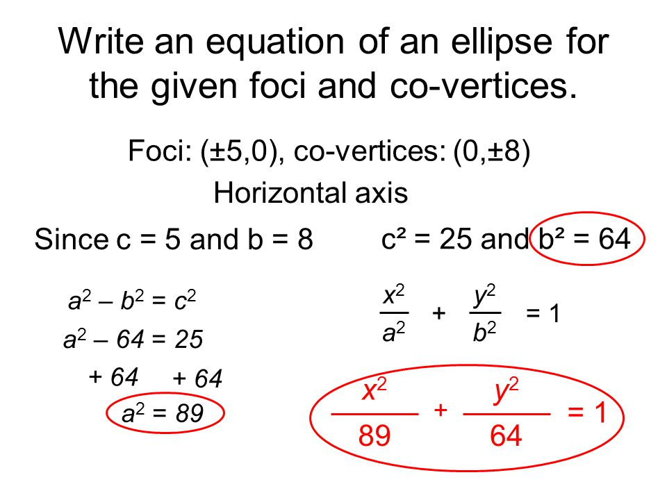 Write an equation of an ellipse for the given foci and co-vertices.