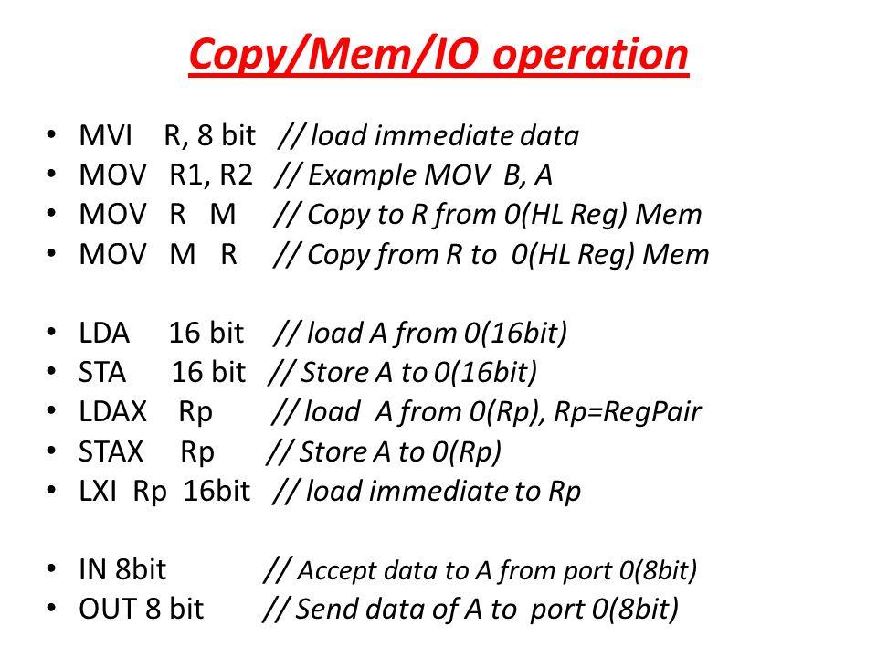 Copy/Mem/IO operation