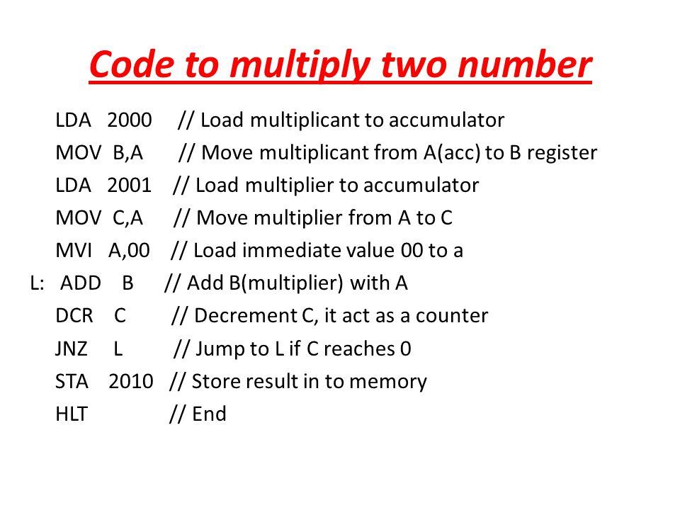 Code to multiply two number