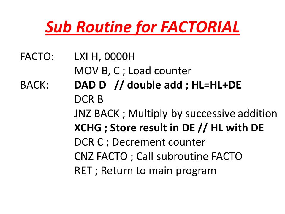 Sub Routine for FACTORIAL