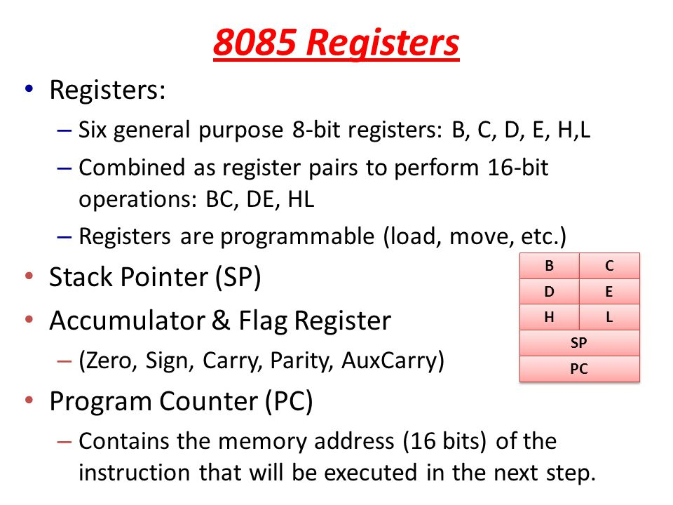 8085 Registers Registers: Stack Pointer (SP)