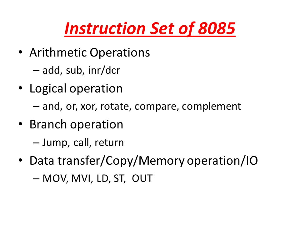Instruction Set of 8085 Arithmetic Operations Logical operation