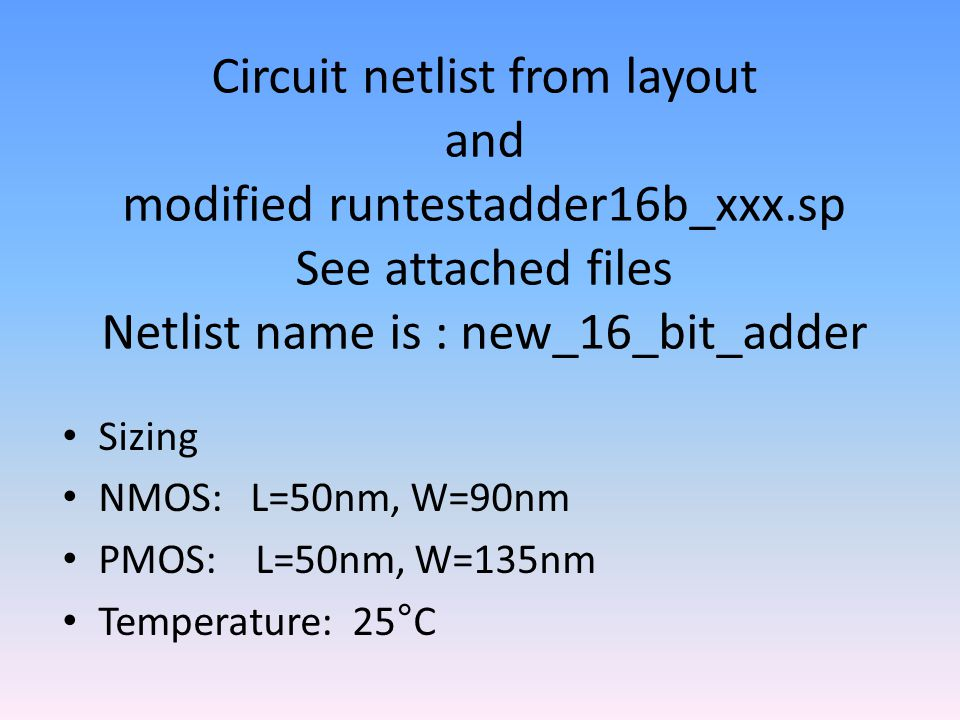 Circuit netlist from layout and modified runtestadder16b_xxx