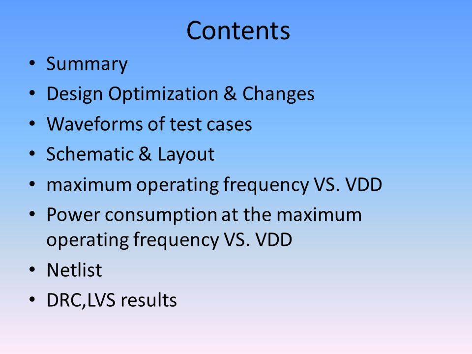 Contents Summary Design Optimization & Changes Waveforms of test cases