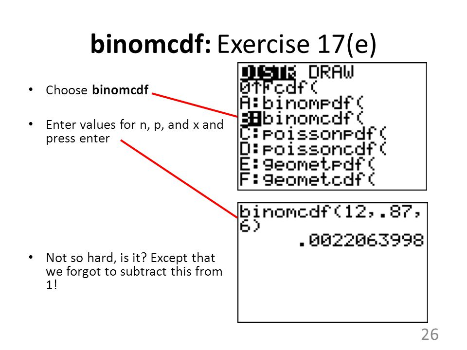 binomcdf: Exercise 17(e)