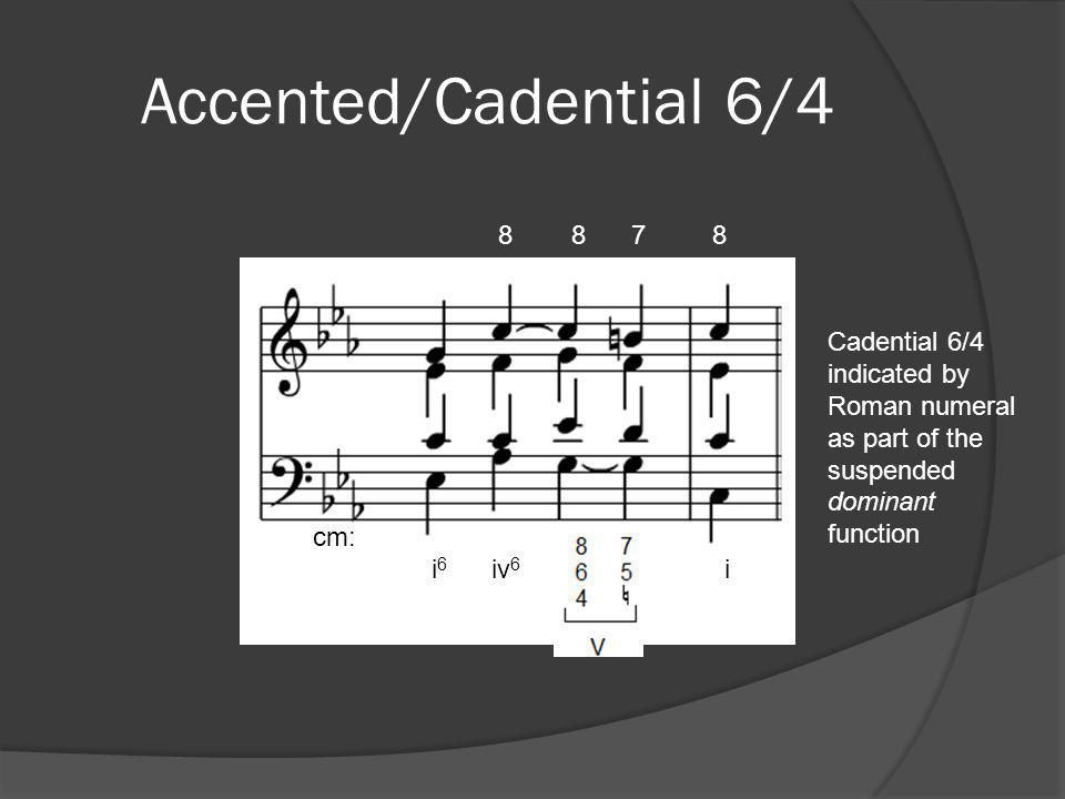 Accented/Cadential 6/4 cm: i6 iv6 i. 8 8 7 8.