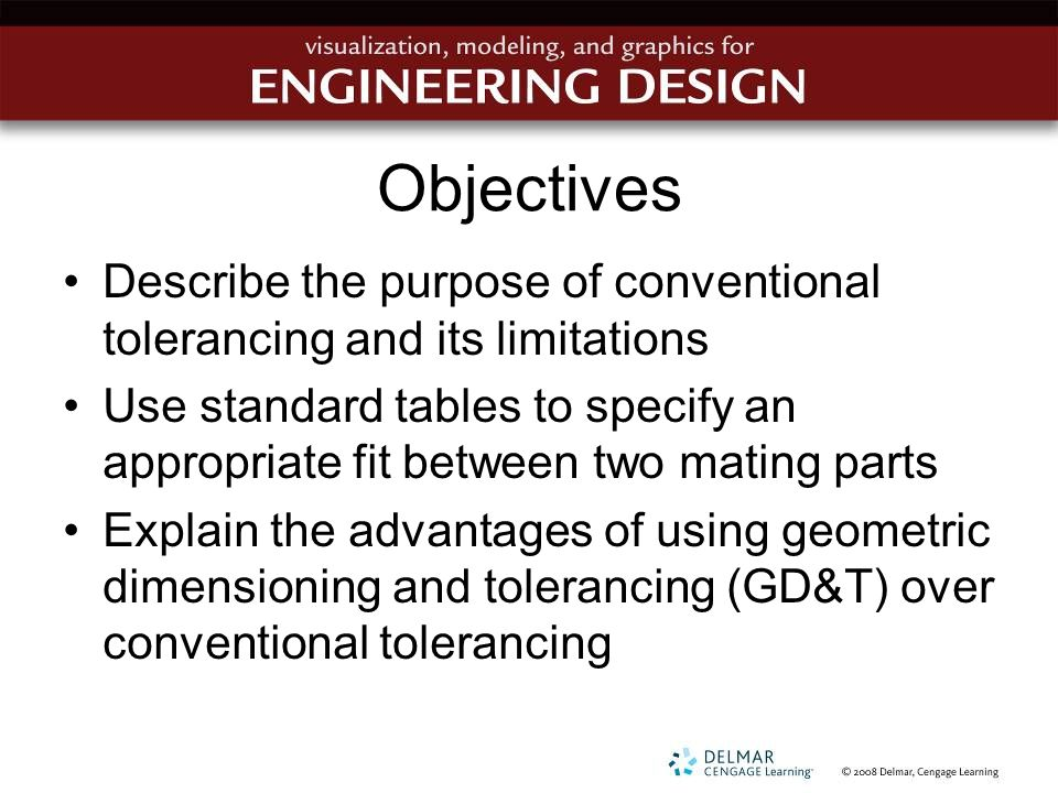 Objectives Describe the purpose of conventional tolerancing and its limitations.