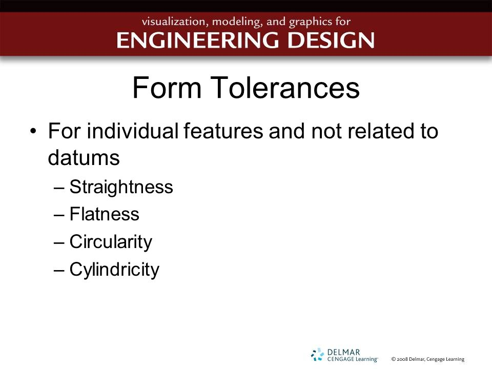 Form Tolerances For individual features and not related to datums