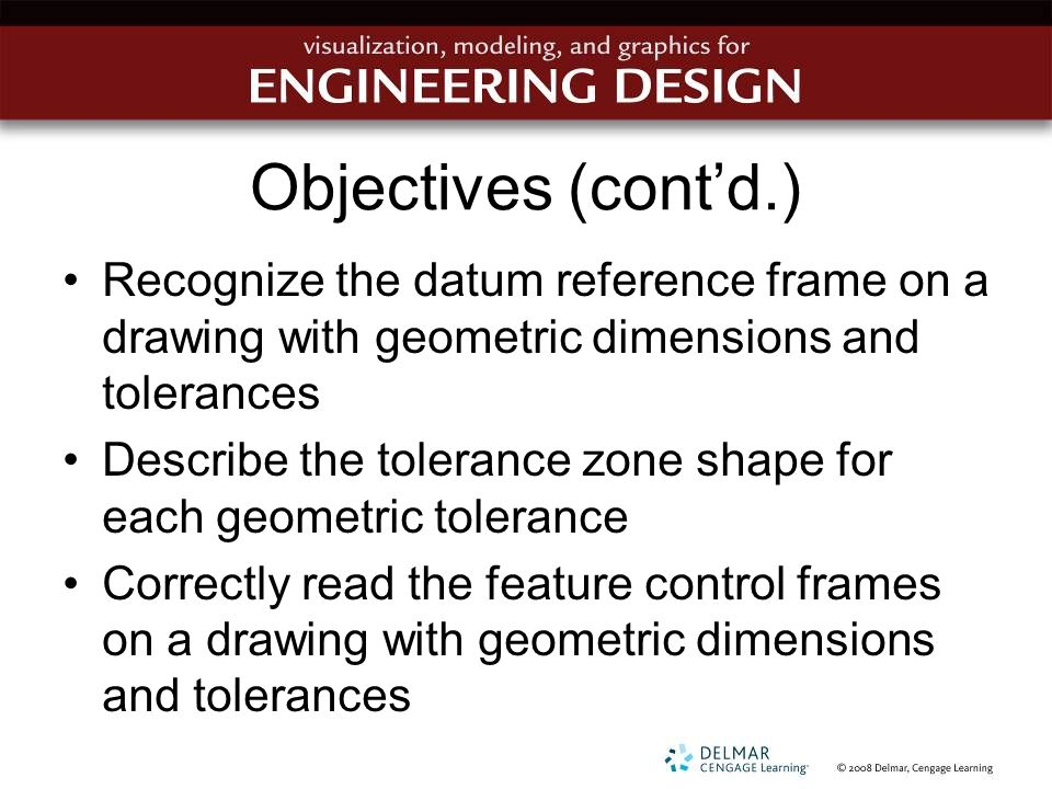 Objectives (cont'd.) Recognize the datum reference frame on a drawing with geometric dimensions and tolerances.