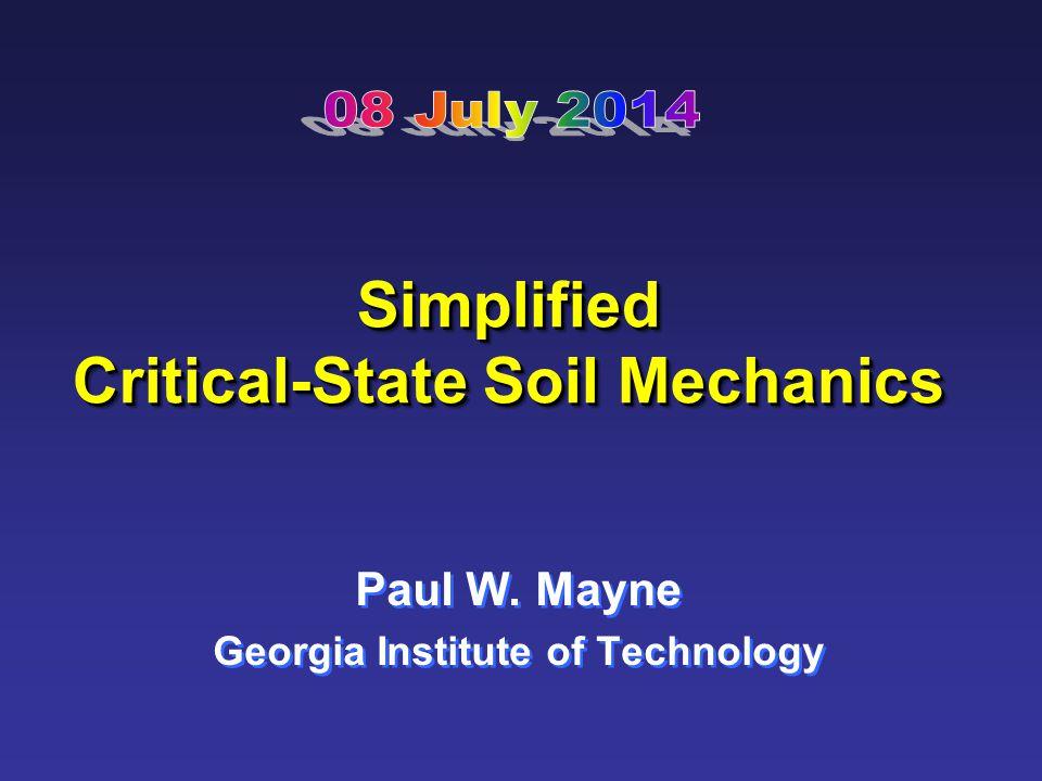 Simplified Critical-State Soil Mechanics