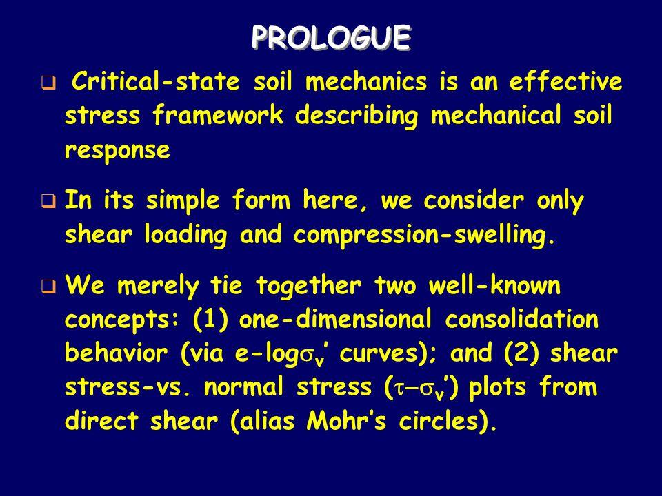 PROLOGUE Critical-state soil mechanics is an effective stress framework describing mechanical soil response.