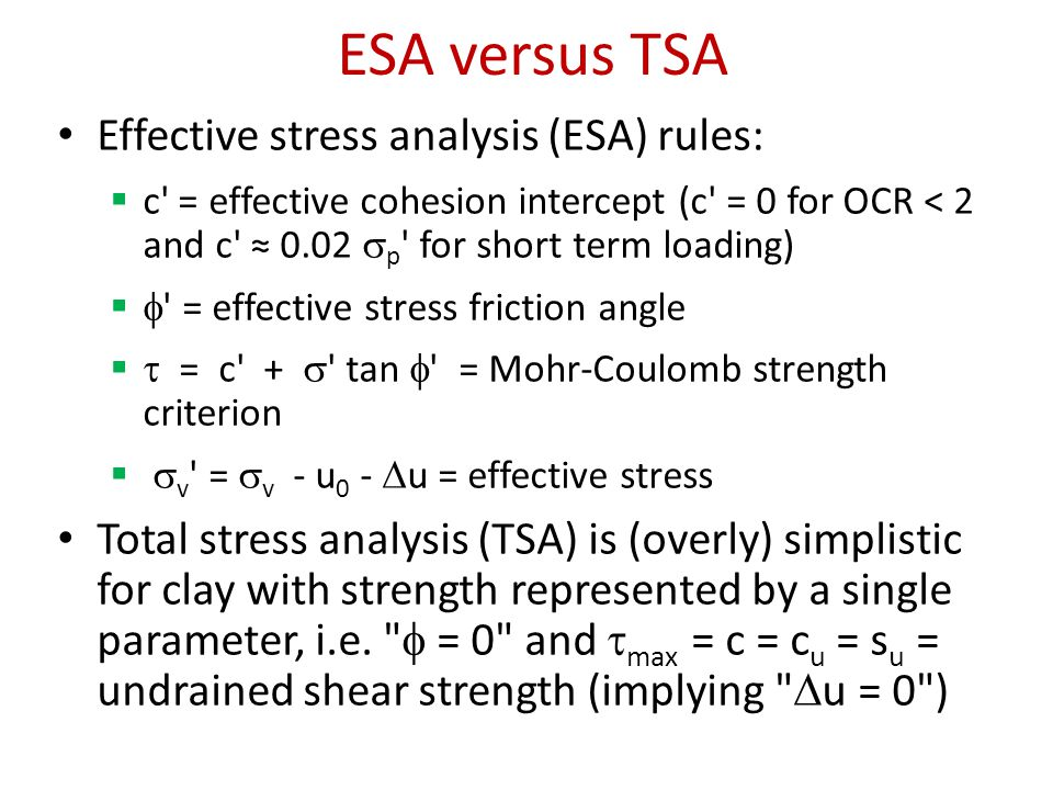 ESA versus TSA Effective stress analysis (ESA) rules: