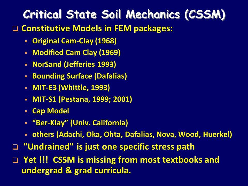 Critical State Soil Mechanics (CSSM)