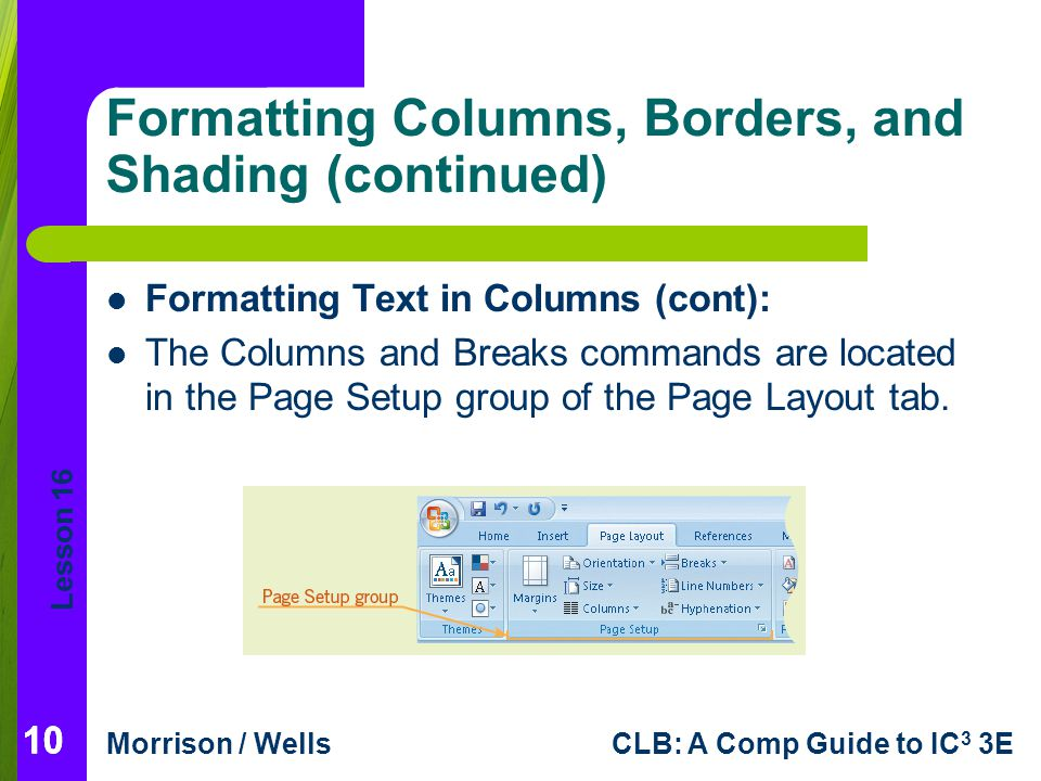 Formatting Columns, Borders, and Shading (continued)