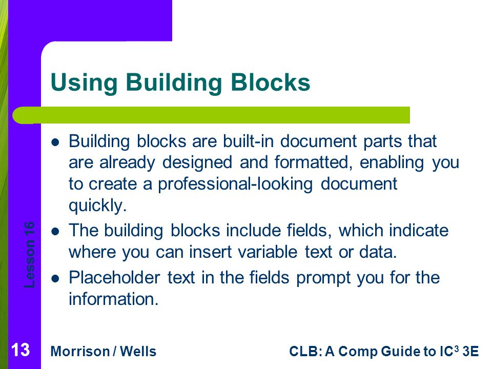Using Building Blocks