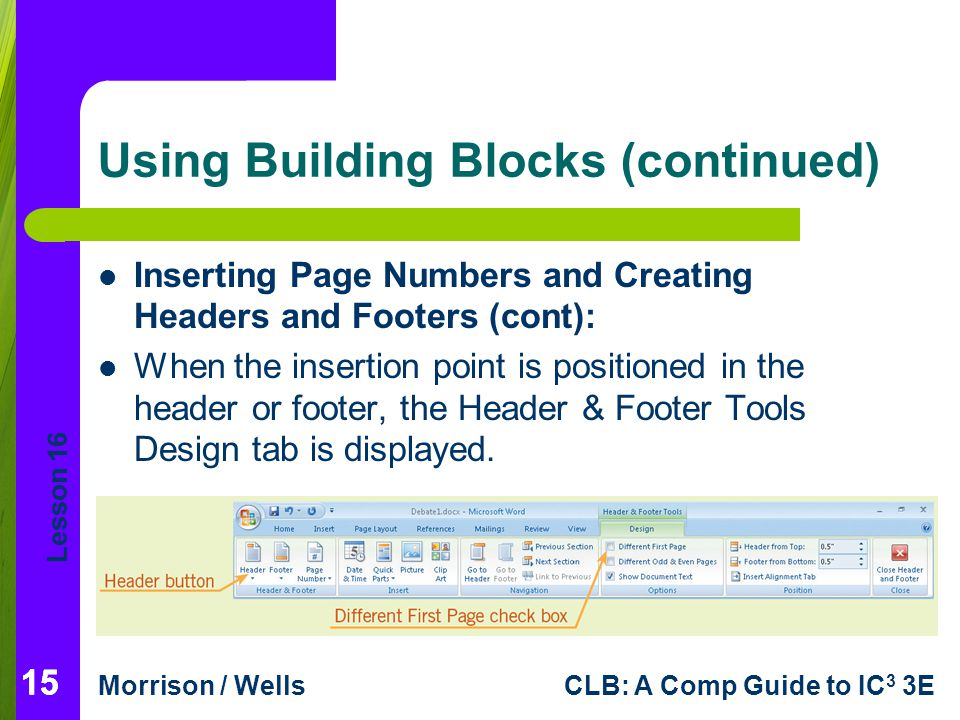 Using Building Blocks (continued)