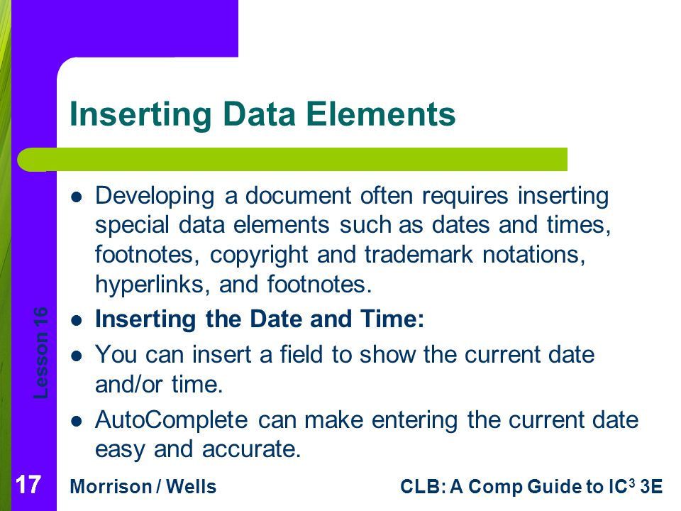Inserting Data Elements