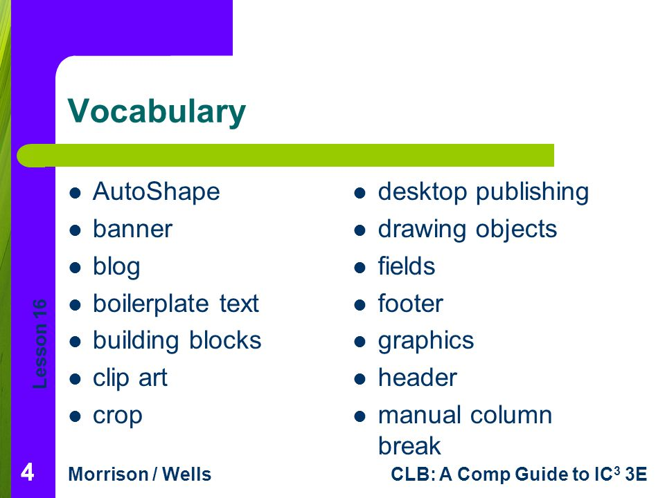 Vocabulary AutoShape banner blog boilerplate text building blocks