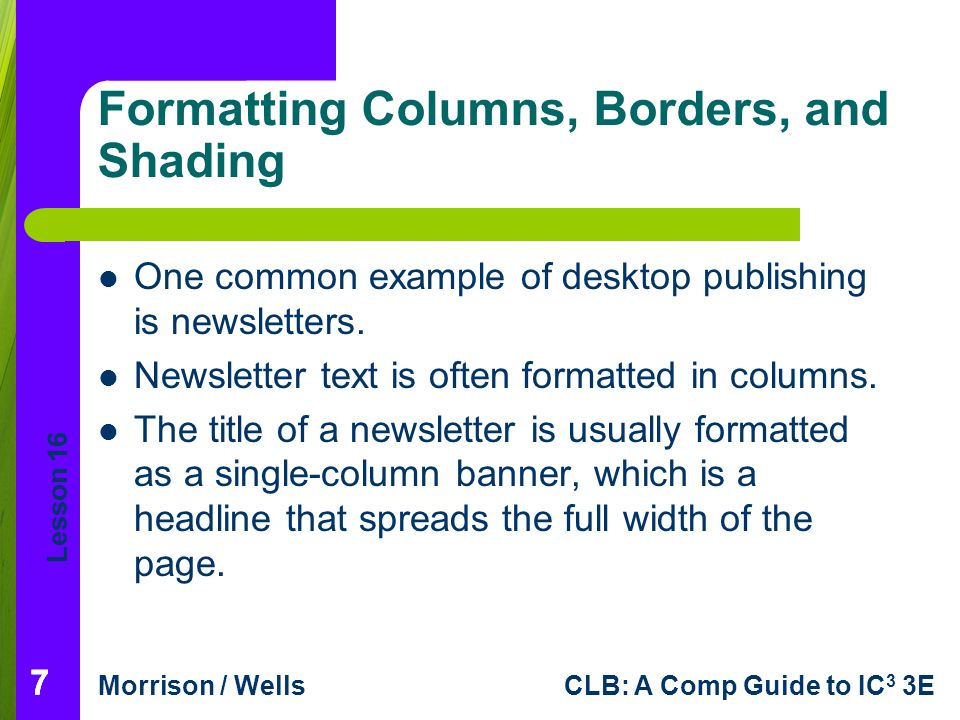 Formatting Columns, Borders, and Shading