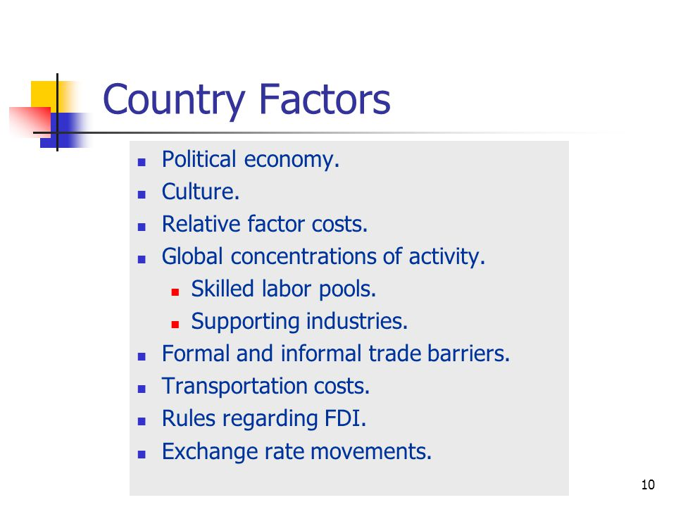 Country Factors Political economy. Culture. Relative factor costs.