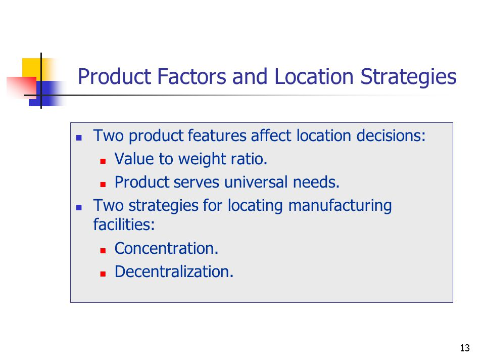 Product Factors and Location Strategies