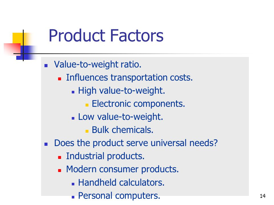 Product Factors Value-to-weight ratio.