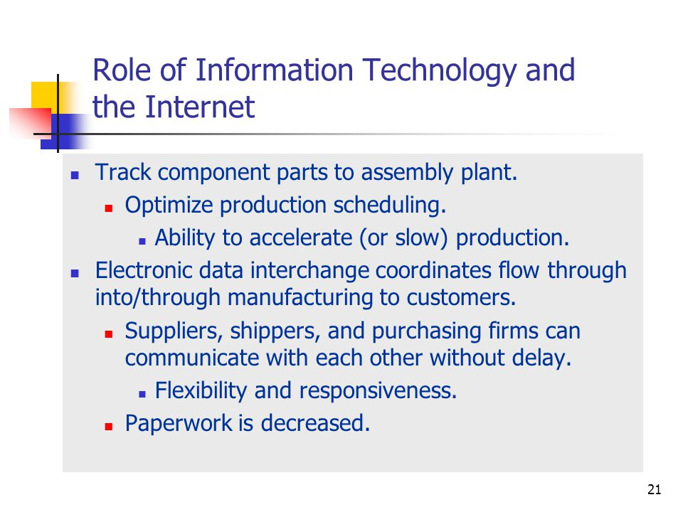 Role of Information Technology and the Internet