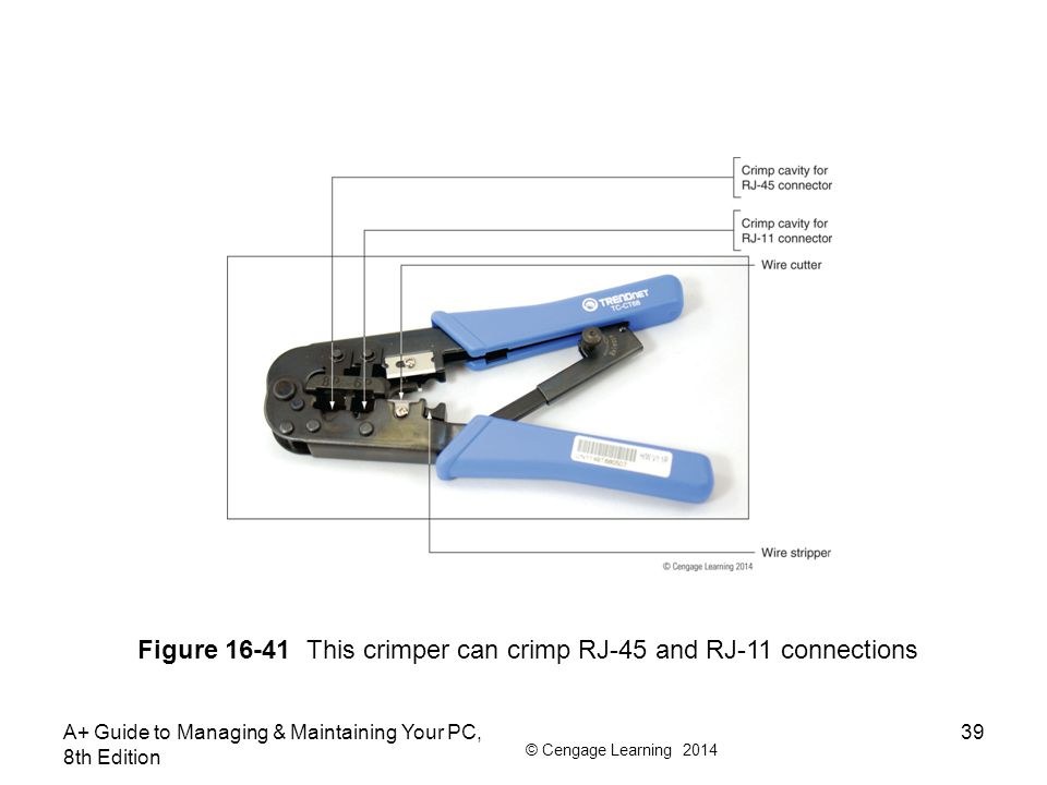 Figure 16-41 This crimper can crimp RJ-45 and RJ-11 connections