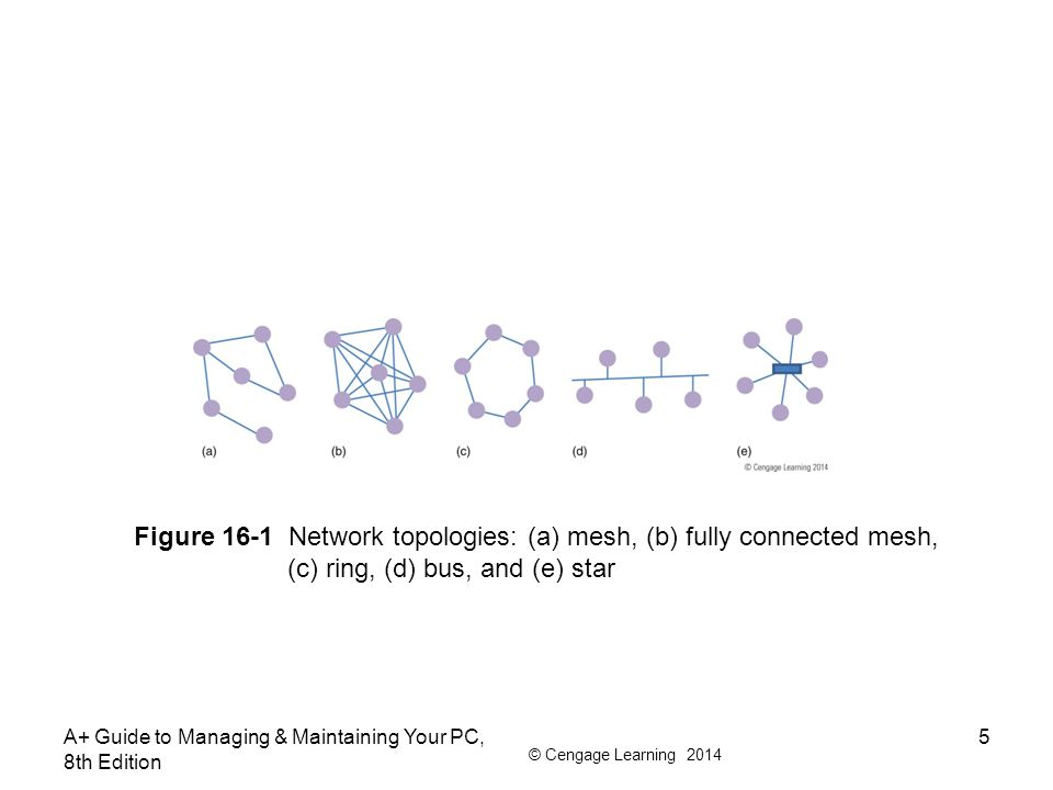 Figure 16-1 Network topologies: (a) mesh, (b) fully connected mesh,