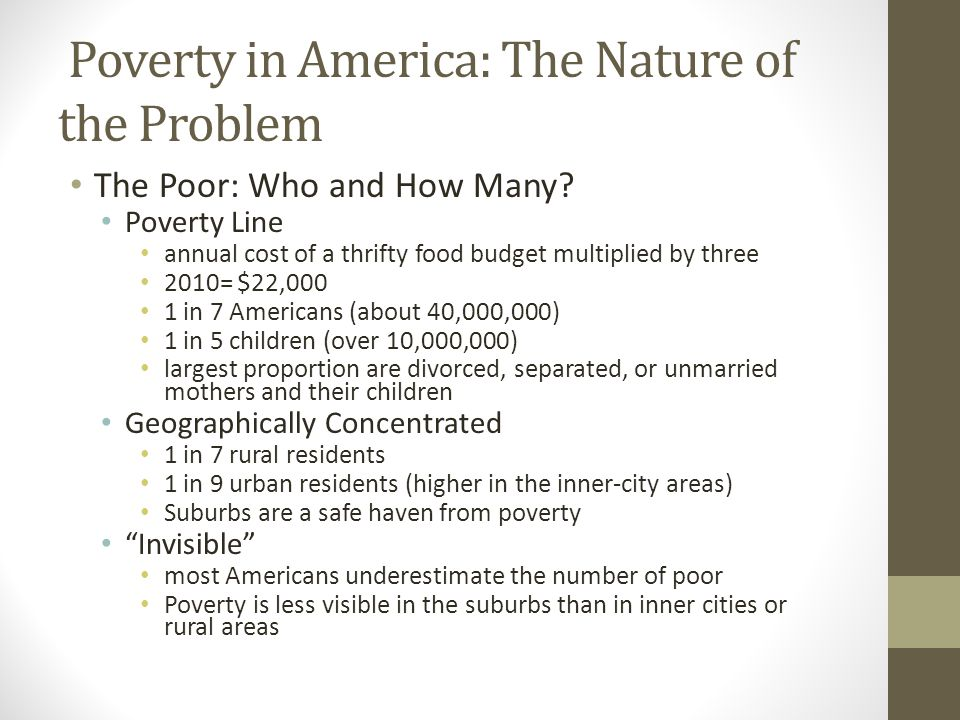 Poverty in America: The Nature of the Problem