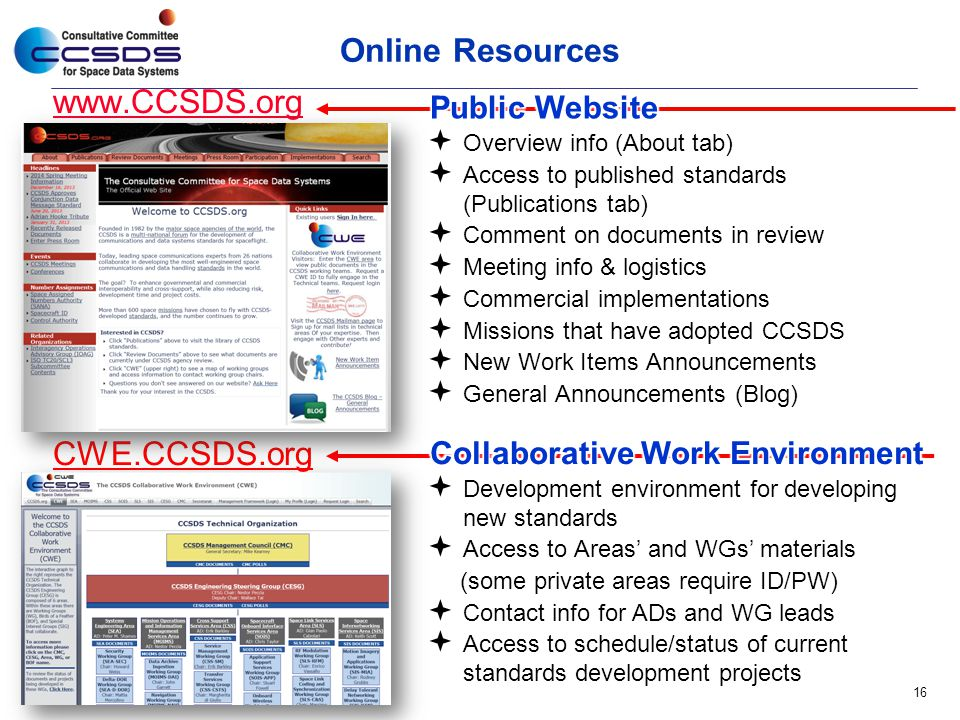 Online Resources www.CCSDS.org CWE.CCSDS.org Public Website