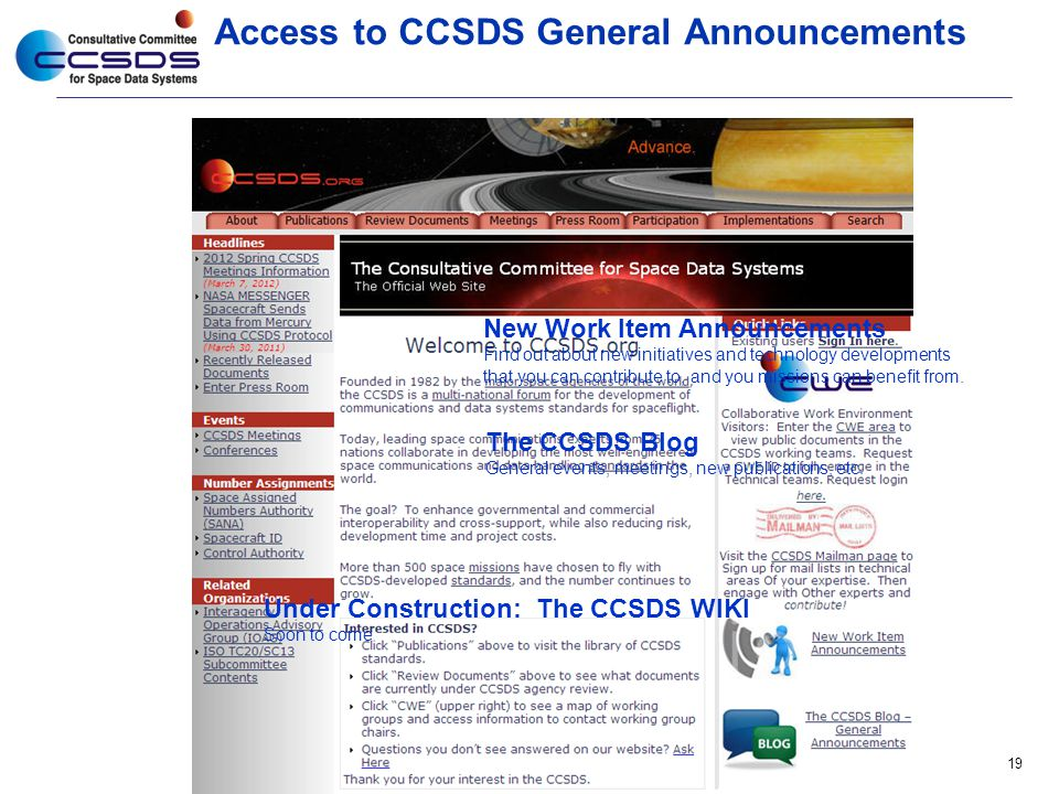 Access to CCSDS General Announcements