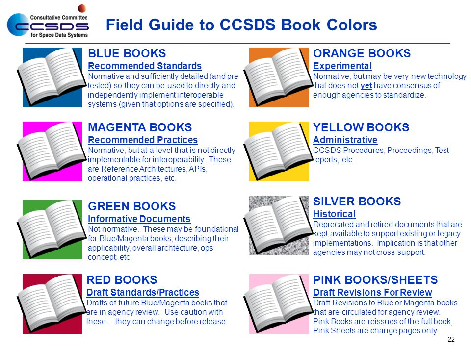 Field Guide to CCSDS Book Colors