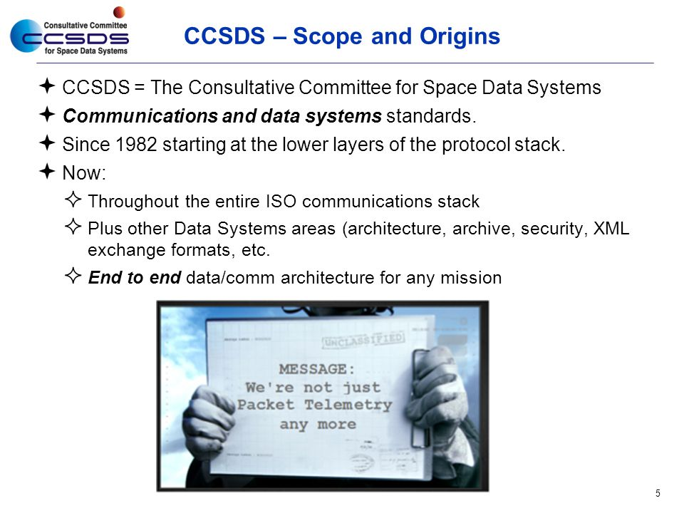 CCSDS – Scope and Origins