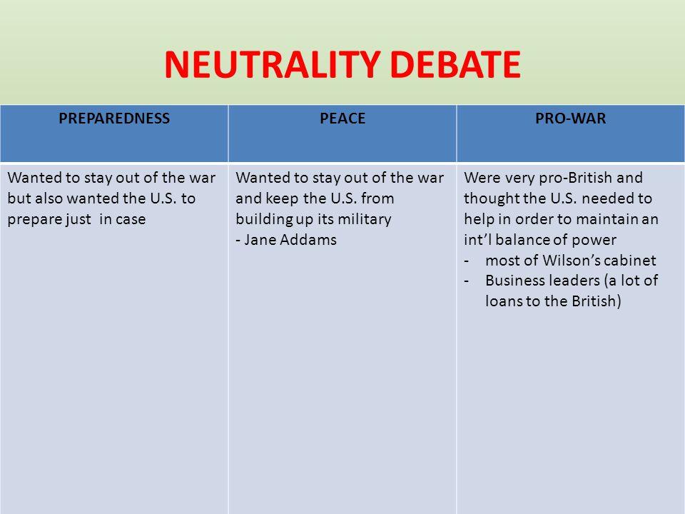 NEUTRALITY DEBATE PREPAREDNESS PEACE PRO-WAR