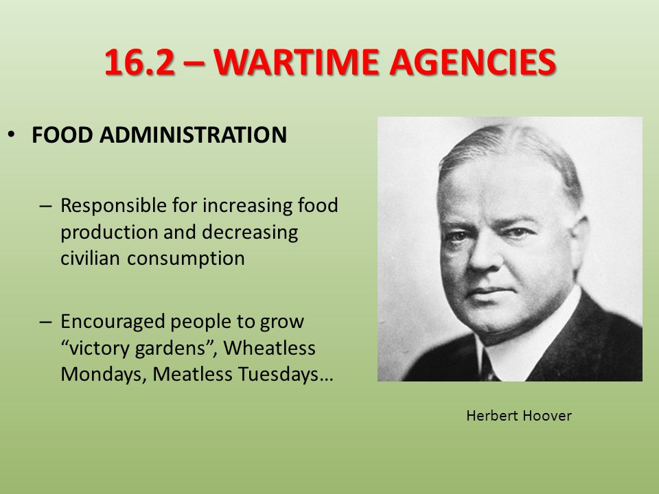 16.2 – WARTIME AGENCIES FOOD ADMINISTRATION