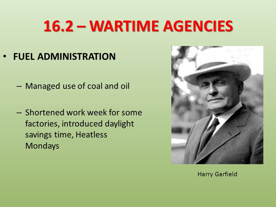 16.2 – WARTIME AGENCIES FUEL ADMINISTRATION