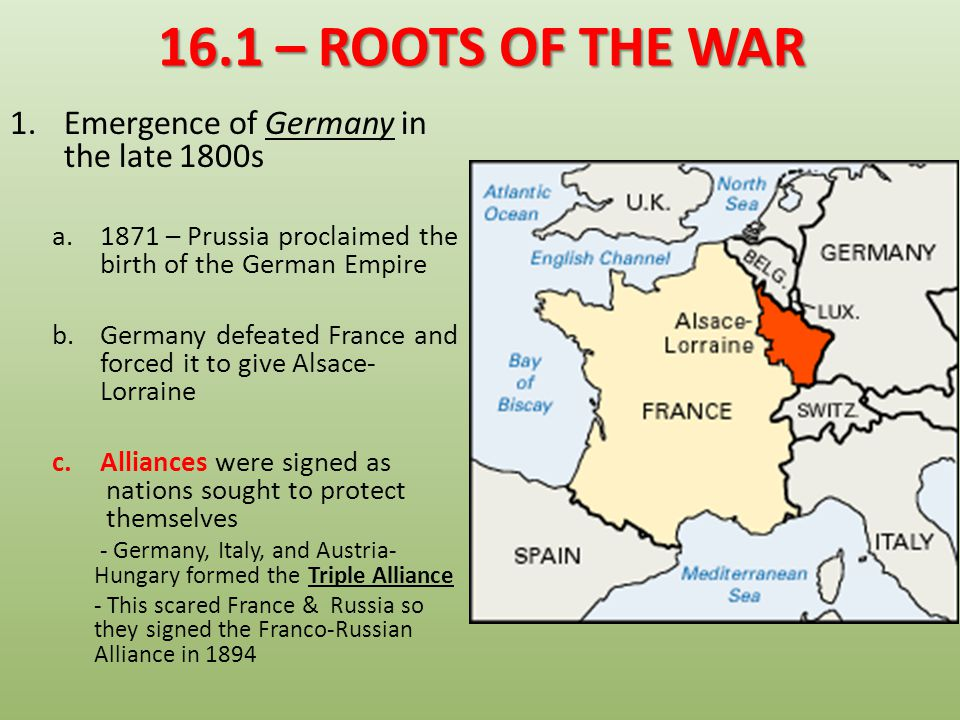 16.1 – ROOTS OF THE WAR Emergence of Germany in the late 1800s