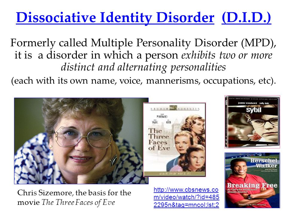 the three faces of eve and dissociative identity disorder essay Dissociative identity disorder  fascinating of the dissociative disorders  disorder was also publicized in the name of sybil and the three faces of eve.