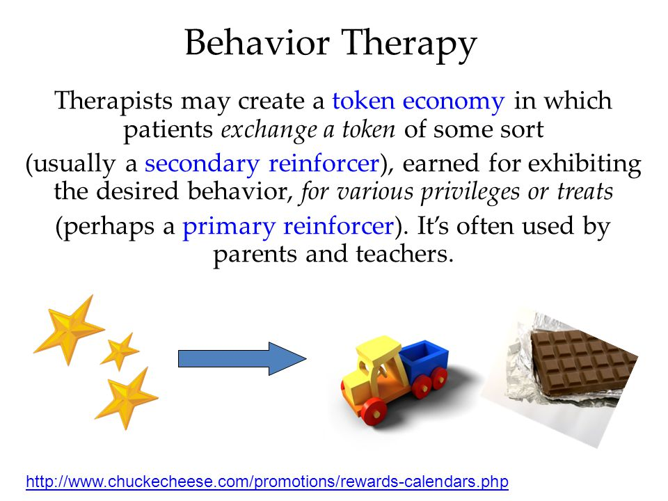 Behavior Therapy Therapists may create a token economy in which patients exchange a token of some sort.