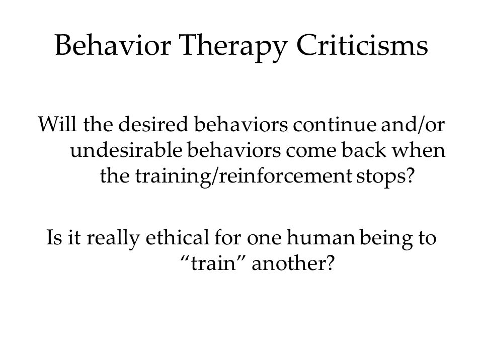 Behavior Therapy Criticisms