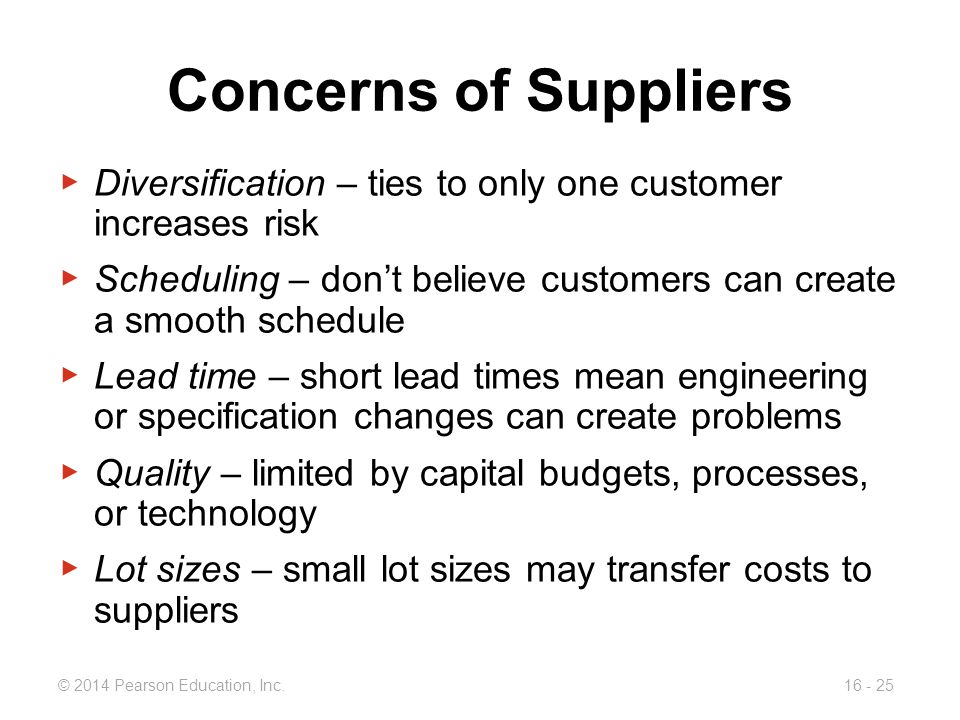 Concerns of Suppliers Diversification – ties to only one customer increases risk.