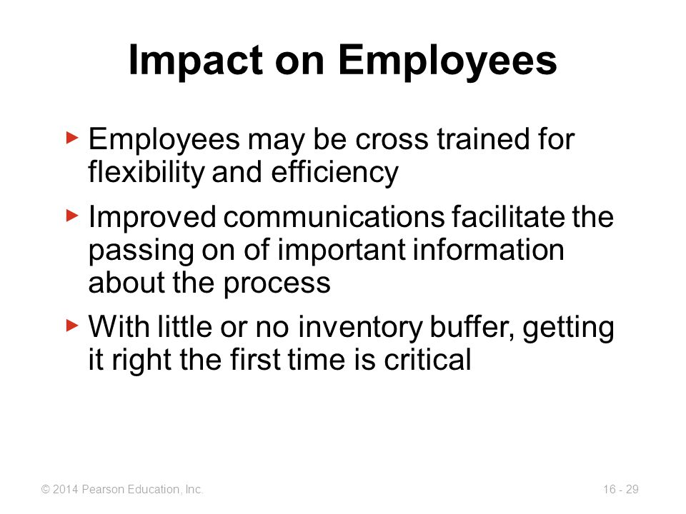 Impact on Employees Employees may be cross trained for flexibility and efficiency.