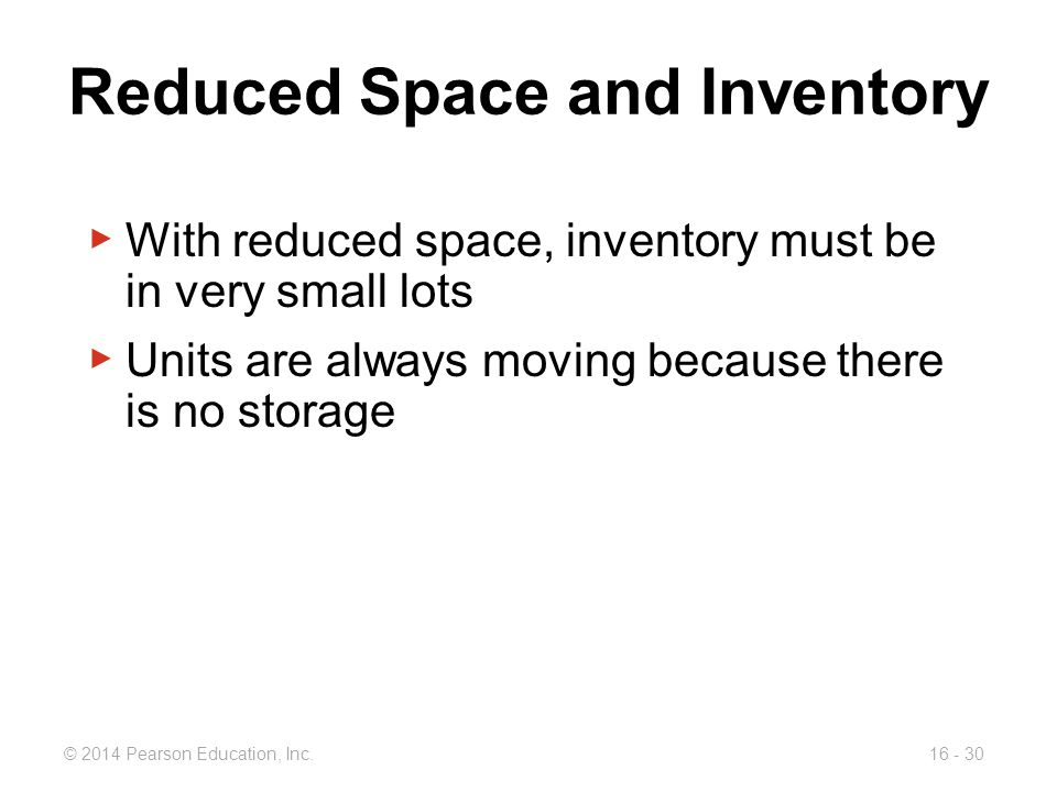 Reduced Space and Inventory