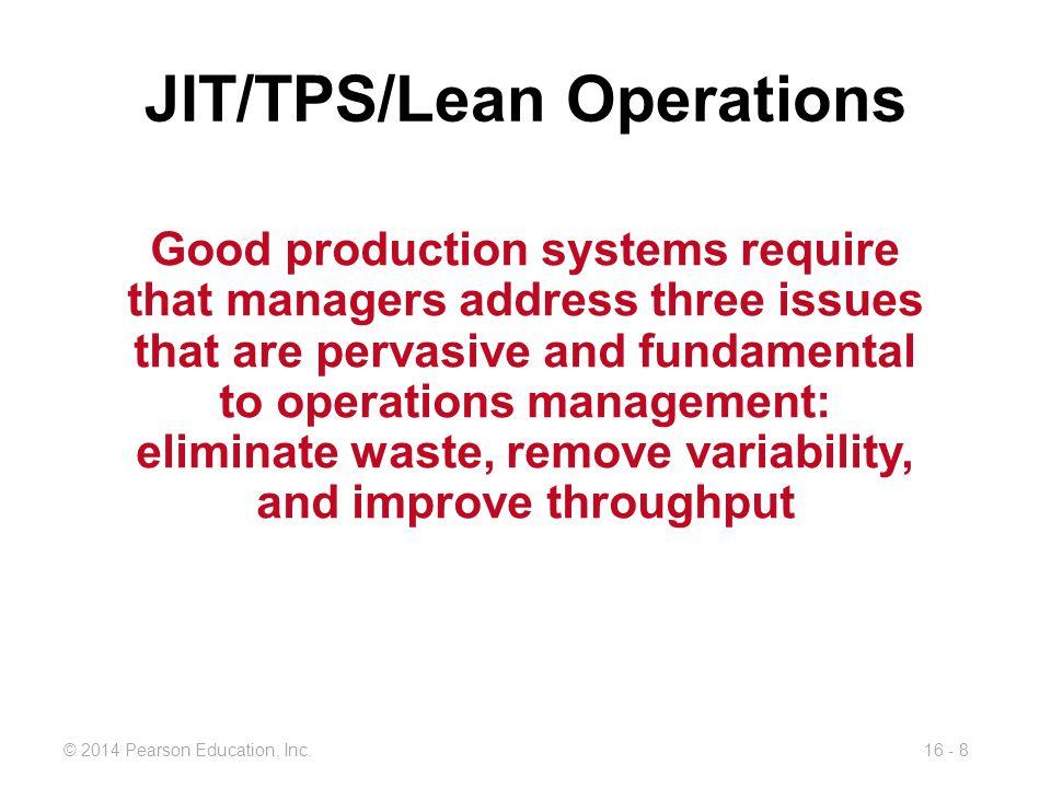 JIT/TPS/Lean Operations