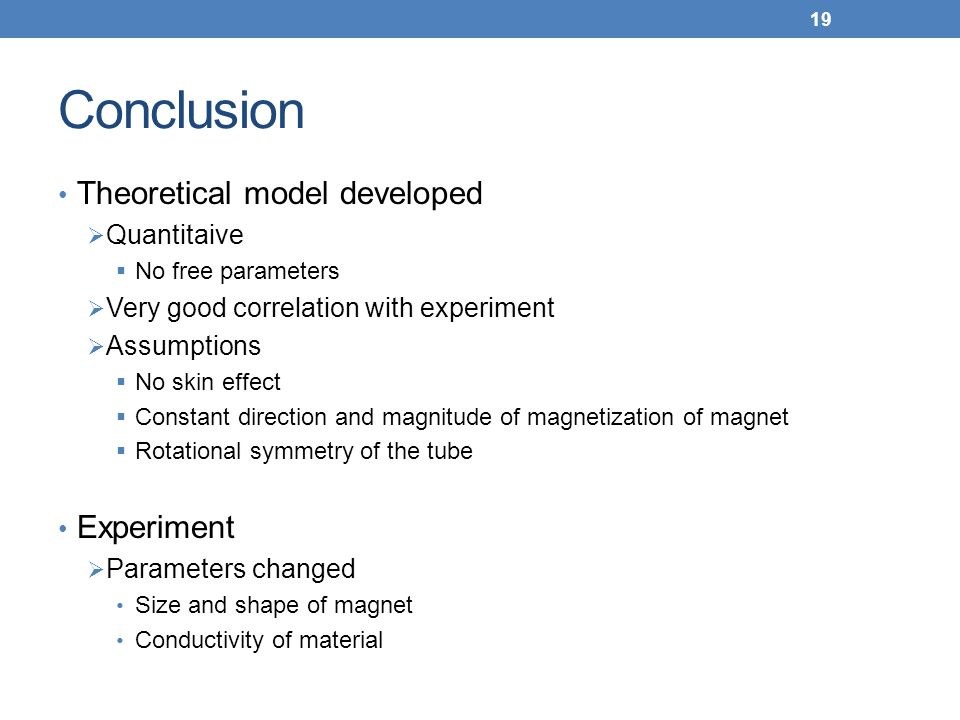 Conclusion Theoretical model developed Experiment Quantitaive