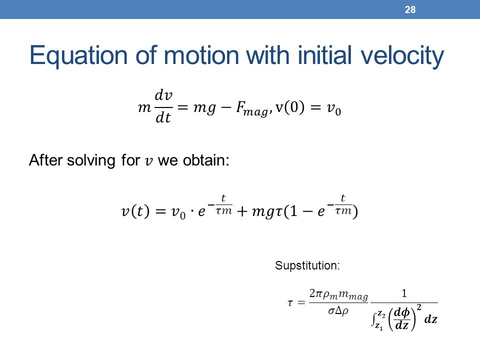 Equation of motion with initial velocity